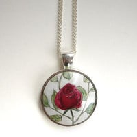 Vintage Style, Wine Red Rose Necklace, Hand Painted Pendant, Art, Original Small Watercolor Painting, Jewelry for you