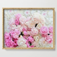 summer peonies Serving Tray by sylviacookphotography