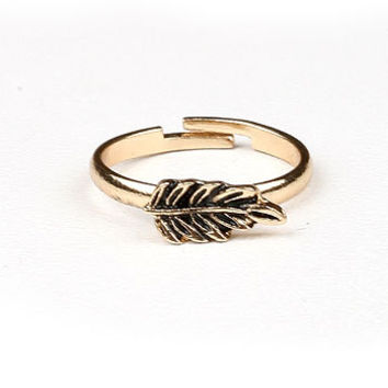 Gold Leaf Midi Ring   Mid Finger Rings at Pink Ice