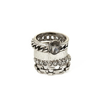 FOREVER 21 Etched Cutout Ring Set Burn.S/Clear