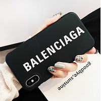 Balenciaga Fashion New More Letter Print Women Men Phone Case Protective Cover Black