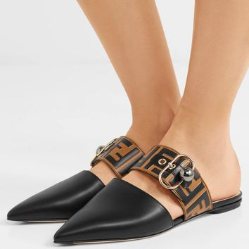 FENDI Embellished logo-embossed leather slippers