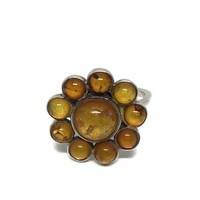 Baltic Amber Sterling Silver Flower Ring Size 7.75, Eastern European, Honey Amber Jewelry, Vintage Jewelry, Vintage Ring, Bohemian Hippie