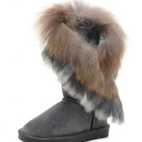 Women's Indian Style Fox Fur Tall Boots - W5, Gray