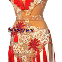 Women Ballroom Rhythm Salsa Rumba Dance Dress US 6 UK 8 White Red Lace Fringe