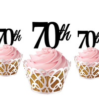 4 pcs a set  CupCake topper 70th, cake decor for 70th birthday, acrylic cupcake toppers party decor, anniversary cupcake topper supplies