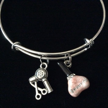 Manicurist Charm Bangle Scissors and Blow Dryer on a Silver Expandable Adjustable Bangle Bracelet Trendy Stacking Handmade Gift