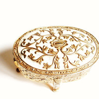 Vintage Jewelry Box //  Victorian Style //  Antique Trinket Box // Gold Metal // With Red Interior