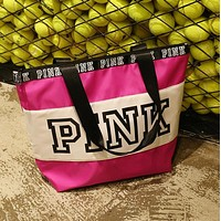 Victoria Pink Fashion New Letter Print Canvas Contrast Color Shopping Leisure Shoulder Bag Women Rose Red