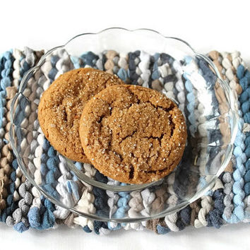 Mini Snack Mats (set of 2) Ocean Blues Sky Sand Tan Cream White Cottage Chic Knitted Mug Rugs Upcycled T Shirts -US Shipping Included