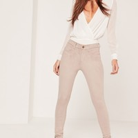 Missguided - Faux Suede Skinny Trousers Nude