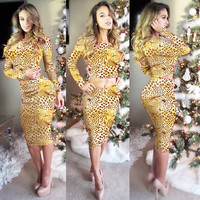 Yellow Animal Print Long Sleeve Cropped Top and High Waisted Skirt