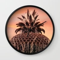 Pineapple Fountain Pink Wall Clock by Legends Of Darkness Photography