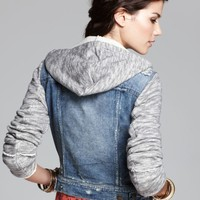 Free People Jacket - Denim and Knit Hooded | Bloomingdales's