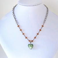 Necklace Green Heart Copper Chain everyday jewellery Amber glass
