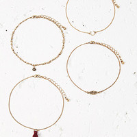 Tassel and Feather Anklet Set