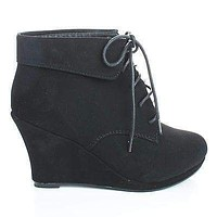 Max35 By Top Moda, Round Toe Lace Up Ankle Cuff Wedge Heel Booties