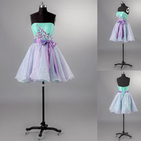 Custom Short Prom Dress Homecoming Dress Two Tone Appliques Bow Sash Cocktail Dress