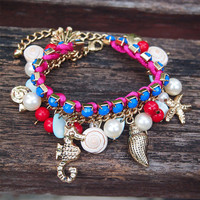 Fun Beach Blue Bracelet with Natural Seashell and Ocean Theme Charms