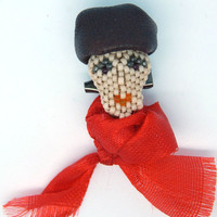 An Artist - small brooch on a safety pin - woman with a red scarf - beaded accessory - seed bead jewelry - handmade beadwork - woman's head