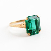 Vintage 10k Yellow Gold Simulated Emerald Ring - Late Art Deco 1940s Size 7.5 Emerald Cut Green Glass Fine Jewelry Church & Company