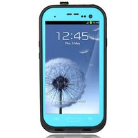 Ari New Waterproof Shockproof Dirtproof Snowproof Protection Case Cover for Samsung Galaxy S3 I9300 with Headphone Adapter, Cloth (Teal)