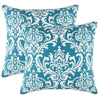 TreeWool, Cotton Canvas Damask Accent Decorative Throw Pillow Covers (Pack of 2 Cushion Covers; 20 x 20 Inches; Teal & White)