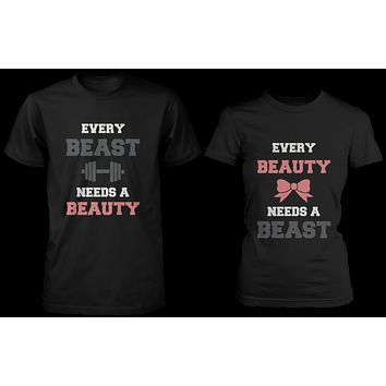Every Beauty Needs A Beast Matching Couple Shirts (Set)