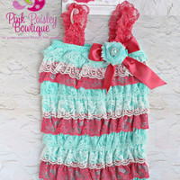 Coral Mint and White Petti Romper, Lace Romper, Ruffled romper, Baby girl bubble romper Pettiromper, 1st birthday outfit, coming home outfit