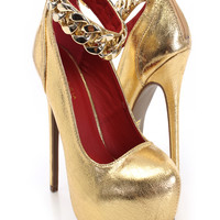 Gold Faux Leather Chain Accent Pump Heels