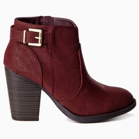 Burgundy-Buckle-Side-Ankle-Boot