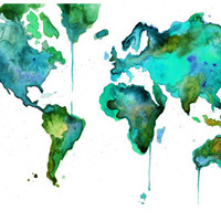 Print from original of World Watercolor Map No. 6 24 x 36 print size, by Jessica Durrant