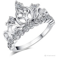Rhodium-plated 925 Sterling Silver Heart Crown Ring