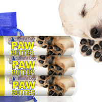 DOG PAW BUTTER Organic Moisturizing Protective Treatment for Dry Rough Dog Pads Three .15 oz Tubes With Paw Label in an Organza Gift Bag