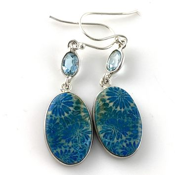 Blue Fossilized Coral & Blue Topaz Sterling Silver Earrings