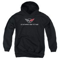 CHEVY/CORVETTE MODERN EMBLEM-YOUTH PULL-OVER HOODIE-BLACK