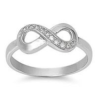 FBAS-0005 Sterling Silver Infinity Ring With CZ; Comes With Free Gift Box (9)