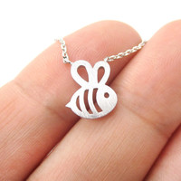 Adorable Bumble Bee Insect Shaped Charm Necklace in Silver | Animal Jewelry