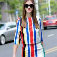 High Quality Brand Runway Skirt Set 2015 Autumn Women 2 Piece Skirts Sets Fashion Designer Striped Top and Pencil Skirt Twin Set-in Women's Sets from Women's Clothing & Accessories on Aliexpress.com | Alibaba Group