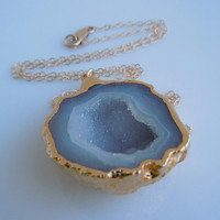 Geode Necklace in Gold Large Size by 443Jewelry on Etsy