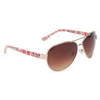Accent Print Aviator Sunglasses