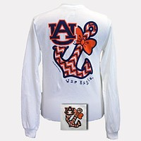 SALE Auburn Tigers War Eagle Anchor Bow Chevron White Bright Long Sleeve T Shirt