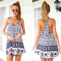 Elephant Floral Party Beach Dress