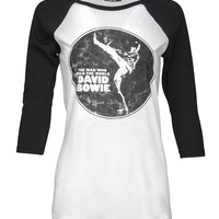 Black and White David Bowie Raglan Band Tee by Knit Riot