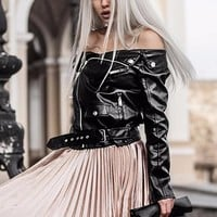 Sexy Off shoulder faux leather jacket