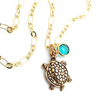 Sea Turtle Necklace, Gold Turtle Pendant,  Sea Life Jewelry, Beachy, Honu, Cute Gold Animal, 583