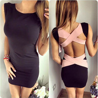 Beautiful Back Strap Design Slim Hip Mini Dress