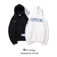 HCXX 19Sep 676 Champion x Supreme Classic Embroidery logo plus velvet Hoodie sweater