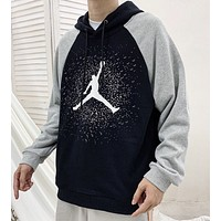 Jordan  Autumn And Winter People Print Luminous Contrast Color Hooded Long Sleeve Sweater Top