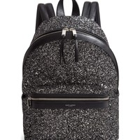 Black and White Polished Glitter Backpack by Saint Laurent